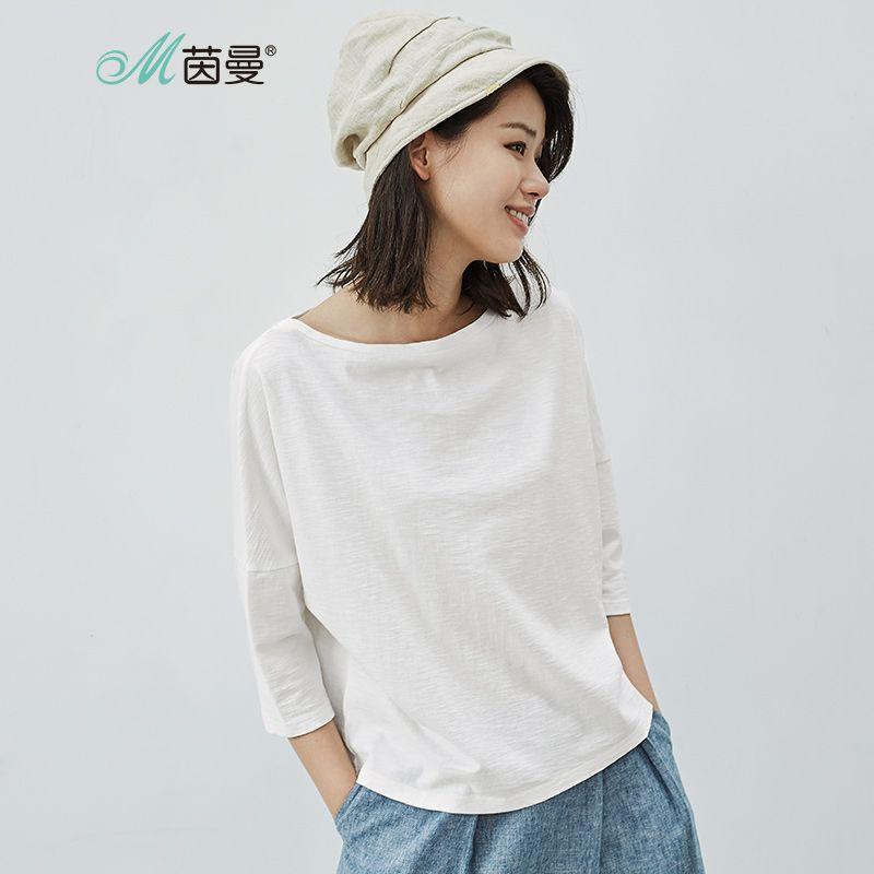 INMAN femmes 2018 nouveau T-shirt trois-quarts en coton uni