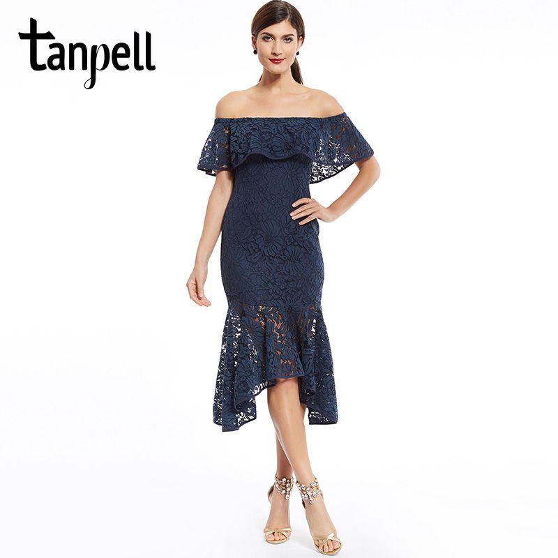 Tanpell boat neck homecoming dress dark navy tea length ruffles dresses cheap newest ladies party lace mermaid graduation dress