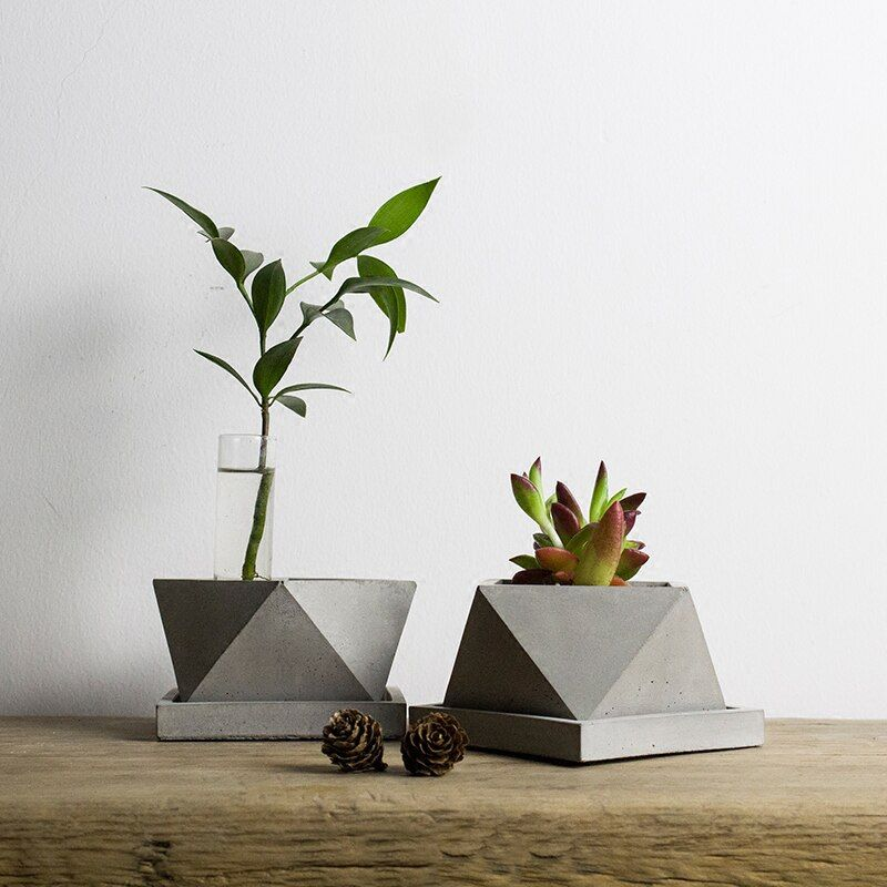 V008 Geometric polygon concrete planter silicone mold home decoration craft potting concrete plant cement vase molds