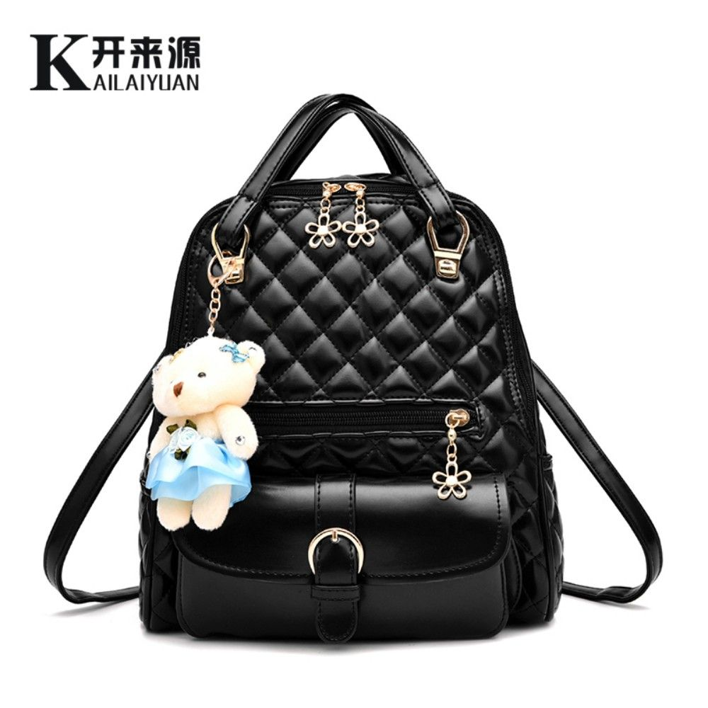 KLY 100% Genuine leather Women backpack 2018 New wave of female students backpack spring and summer fashion casual Bear