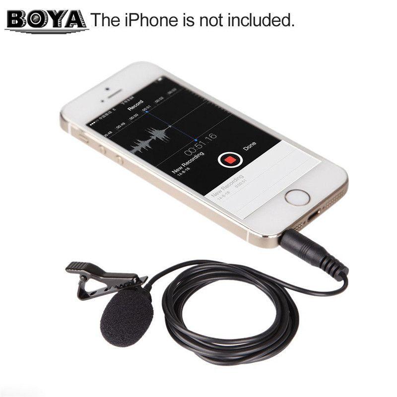 BOYA BY-LM10 PAR LM10 Téléphone Audio Vidéo Enregistrement Microphone À Condensateur Cravate pour iPhone 6 5 4S 4 Sumsang GALAXY 4 LG G3 HTC