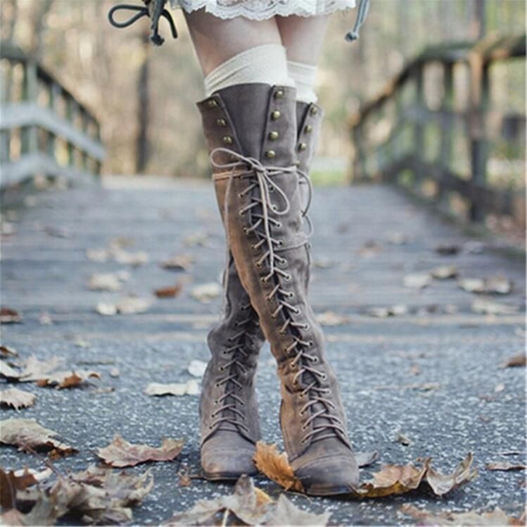 2018 Mid Heel Grey Black Leather Cowboy Women Boots Retro Autumn Winter Boots Lace Up Knee High Boots Shoes Woman Botas Mujer