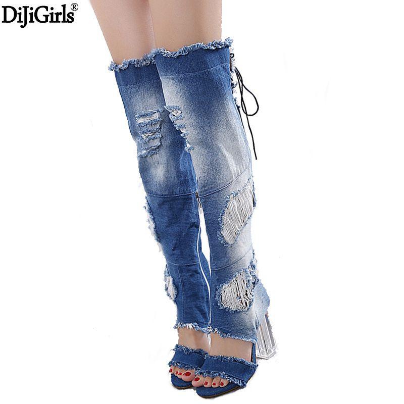 Dames chaussures et sandales femmes Transparent talon Denim chaussures à lacets Sexy sur les bottes au genou femmes été bout ouvert bottes longues