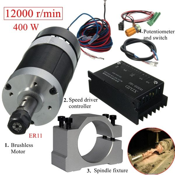 400W 12000rpm ER11 Chuck CNC Brushless Spindle Motor DC Machine Tool with Driver Speed Controller and Clamp