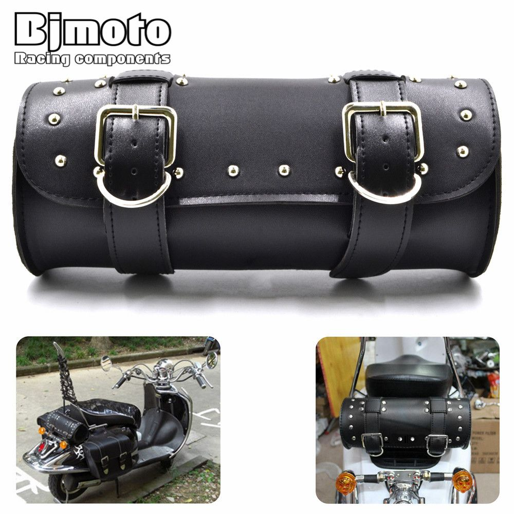 BAG-003  Motorcycle Tool Saddle Bag PU Leather Metal Buckles Scooter Bags For Harley Road King Electra Glide Street Glide