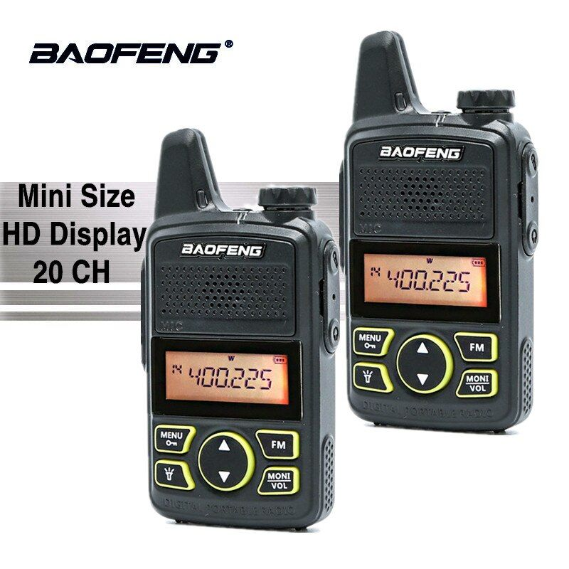 2PCS Baofeng BF-T1 Walkie Talkie UHF 400-470MHz FM Kids Transceiver Mini Radio With PTT Earpiece Child Two Way Radio Comunicador