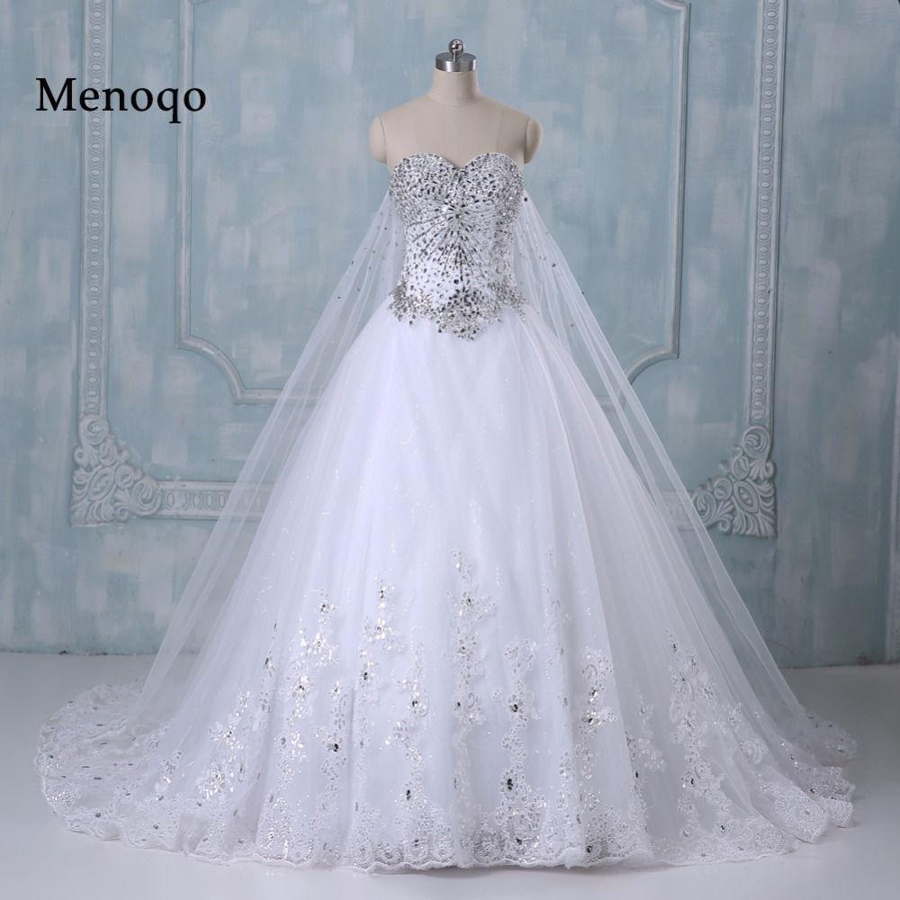 Romantic Wedding Dress Princess Bride Dress Strapless Floor-Length Diamond Lace Wedding Dresses Vestido De Novia 9248W