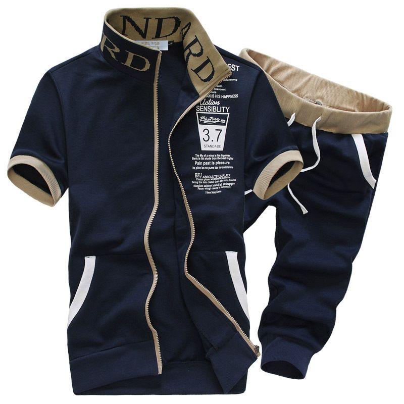 Amberears survêtements hommes ensemble 2019 été Sportswear hommes ensemble Short et haut à manches courtes sweat + pantalon sport costume survêtement 2 PC
