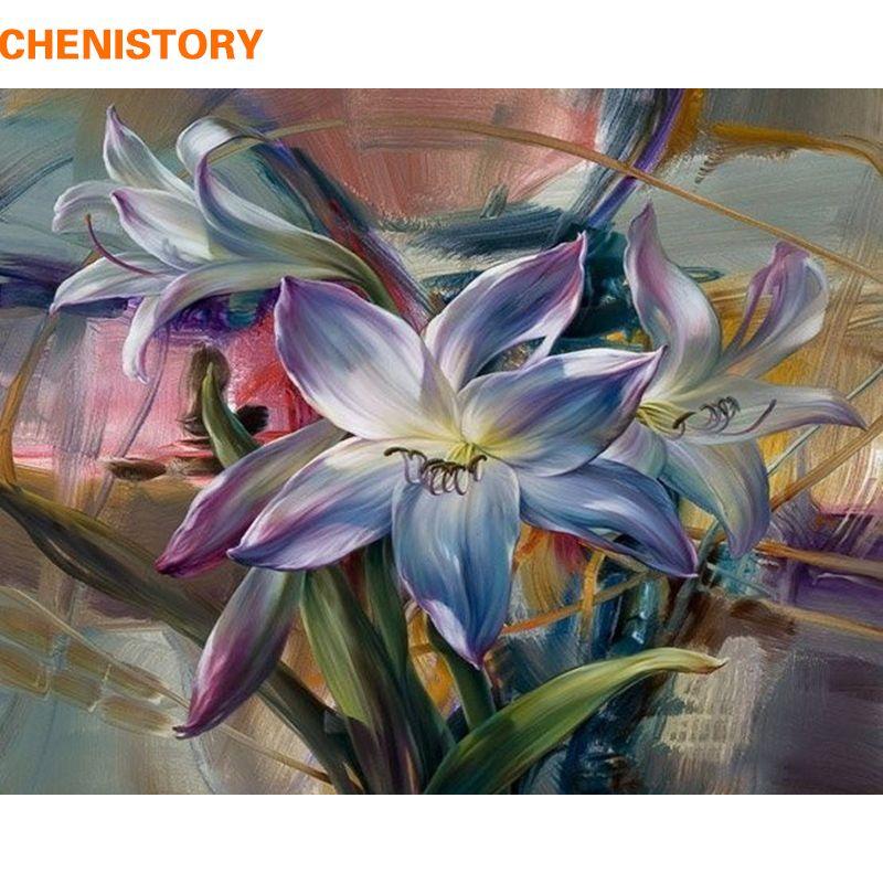 CHENISTORY fleur vive peinture à la main par numéros Kits peinture à l'huile sur toile dessin peinture par numéros pour mur Art photo
