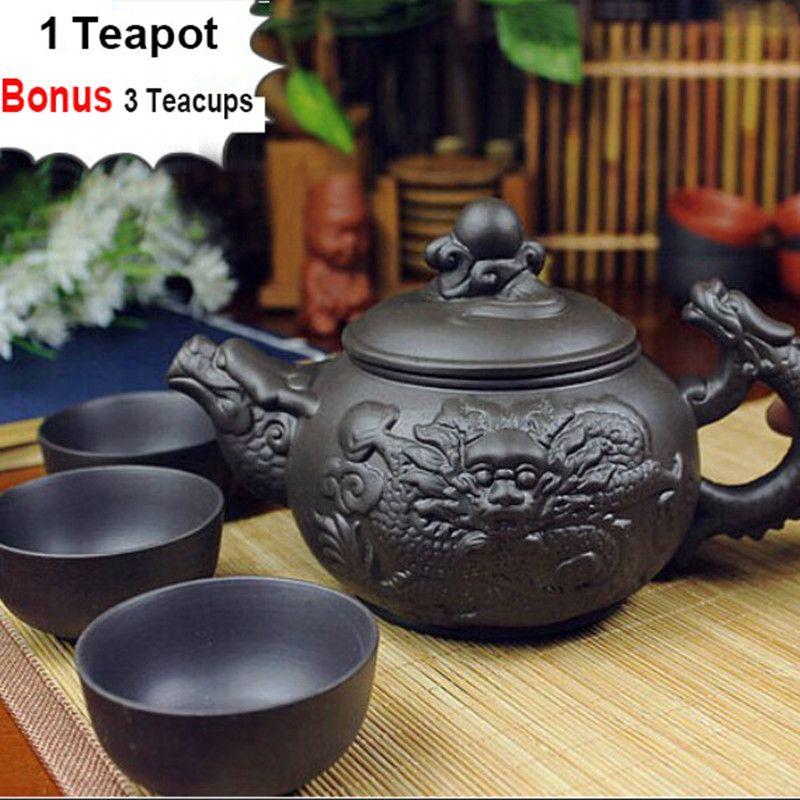 Authentique 4 pièces Kung Fu Thé [1 Théière + 3 Tasses] 360 ml Dragon Bouilloire Infuseur Yixing Théière Main Zisha Céramique Porcelaine