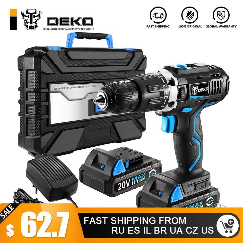 DEKO GCD20DU3 Electric Screwdriver Cordless Drill Impact Drill Power Driver 20-Volt Max DC Lithium-Ion Battery 13mm 2-Speed