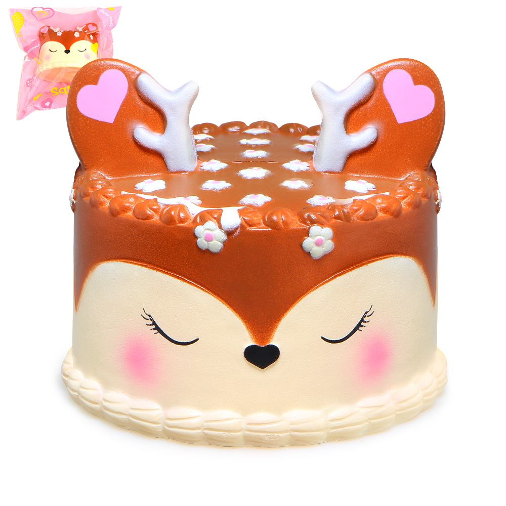 Kawaii Deer Cake Squishy Jumbo Slow Rising Squishies Cream Scented Squeeze Kid Toy Phone Charm Gift for Stress Relief