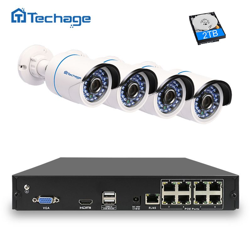 Techage 8CH 1080P NVR Kit 48V POE CCTV System 4PCS Outdoor Security PoE IP Camera IP66 Waterproof P2P Onvif Surveillance System