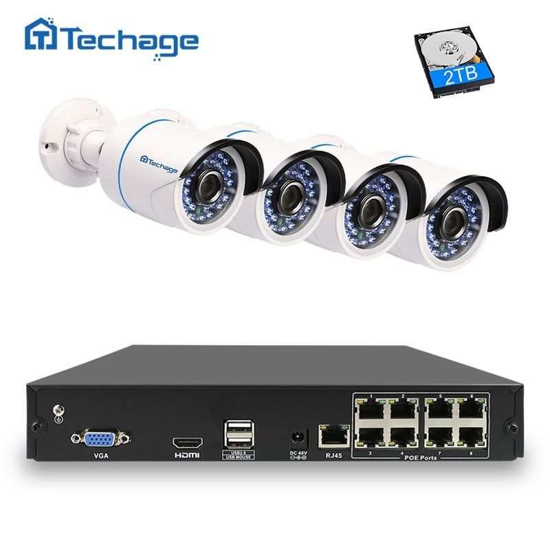 Techage HD 1080P POE CCTV Camera System 8CH 48V PoE NVR Kit 2MP Outdoor Security IP Camera Waterproof P2P Video Surveillance Set