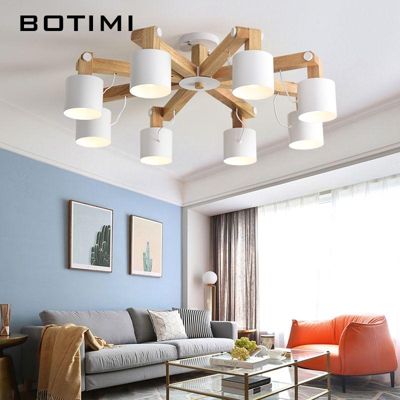 BOTIMI Nordic LED Chandelier Lighting For Living Room Adjustable Chandeliers Modern Wooden Lustres E27 Dining Luminaire