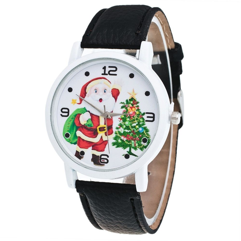 2017 NEW NEW  Christmas Elderly Pattern Leather Band Analog Quartz Vogue Watches kol saat relogioi SEP16