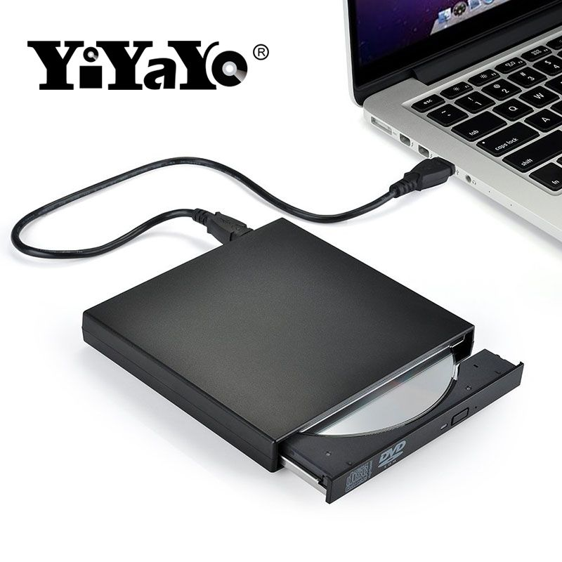 YiYaYo External DVD ROM Optical Drive USB 2.0 CD/DVD-ROM CD-RW Player Burner Slim Portable Reader Recorder Portatil for Laptop