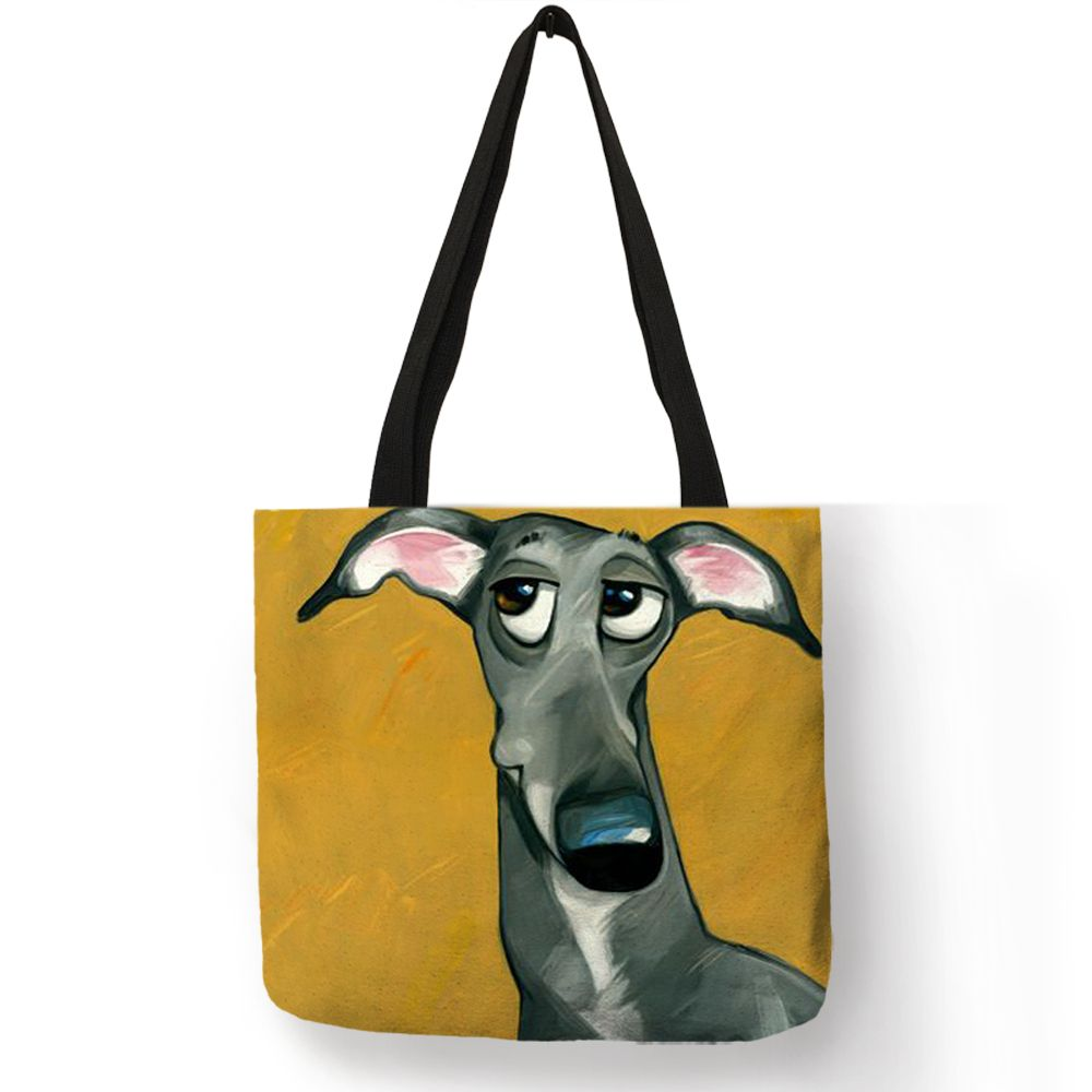 Personnaliser Greyhound noir chien imprimer femmes dame mode fourre-tout sac en tissu sacs à main pliant réutilisable sacs à provisions poche