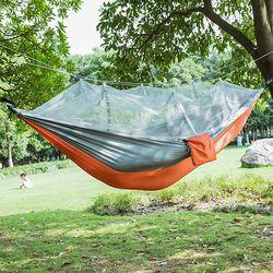 Fashion Parachute Fabric Hammock double Person Portable Mosquito Net Hammock Outdoor furniture Camping travel garden swing hamak