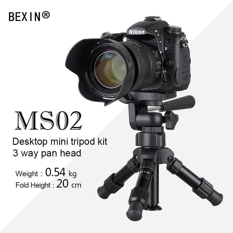 Portable professionnel en alliage d'aluminium avec tête à rotule à 3 voies mini trépied petite tête à rotule panoramique pour appareil photo reflex numérique