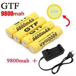 GTF 18650 батарея В 3,7 мАч 9800 в литий-ионные аккумуляторы для фонарика + ЕС литий-ионный батарея зарядное устройство аккумулятор батарея