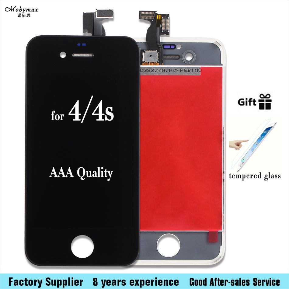 For Iphone 4s 5C 6 6s 7 plus LCD Display Touch Screen Front Glass Digitizer Glass assembly with tempered glass
