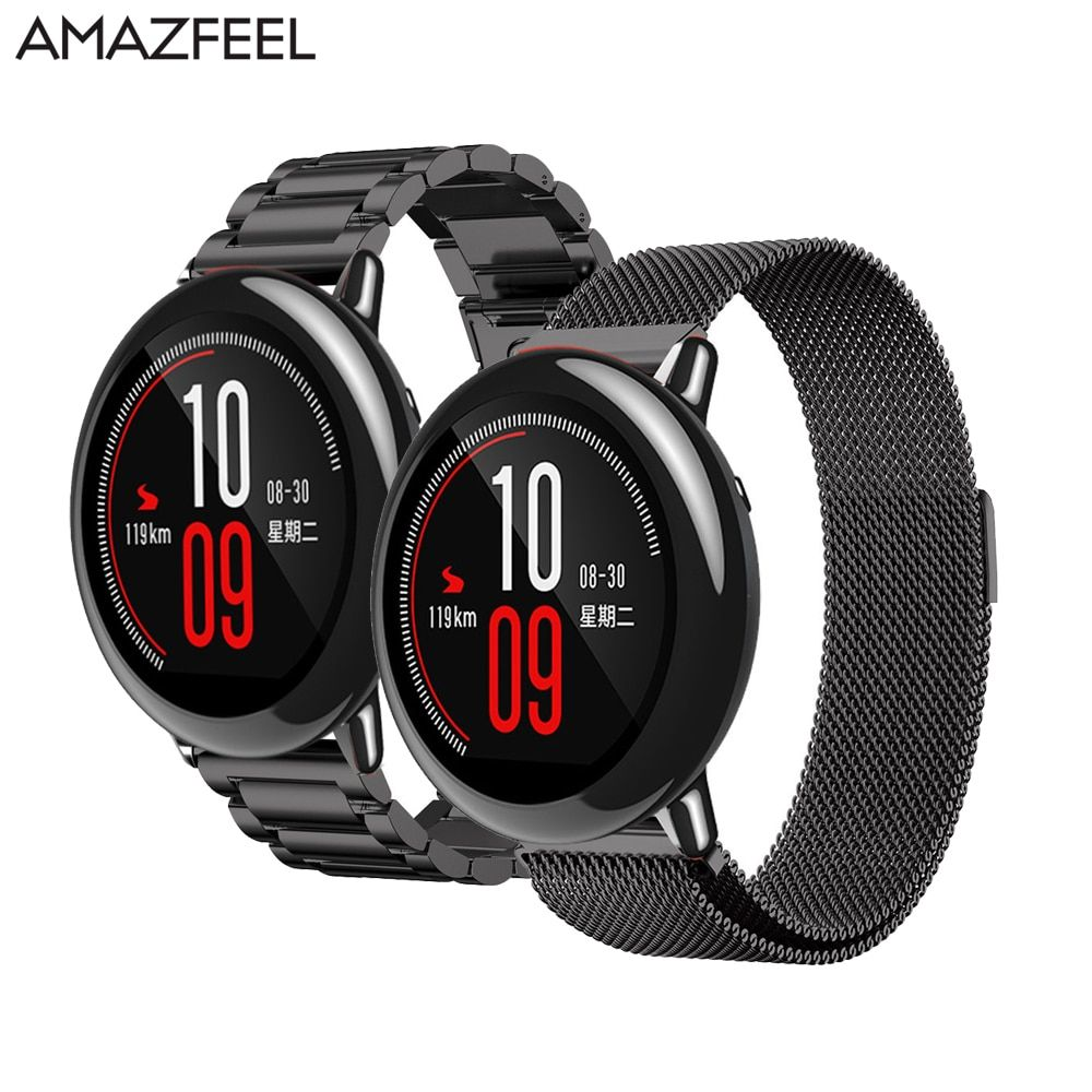 AMAZFEEL 22mm Metal Stainless Strap for xiaomi Huami Amazfit Bracelet Watch Band Milanese Loop Magnetic Buckle Belt 3 series