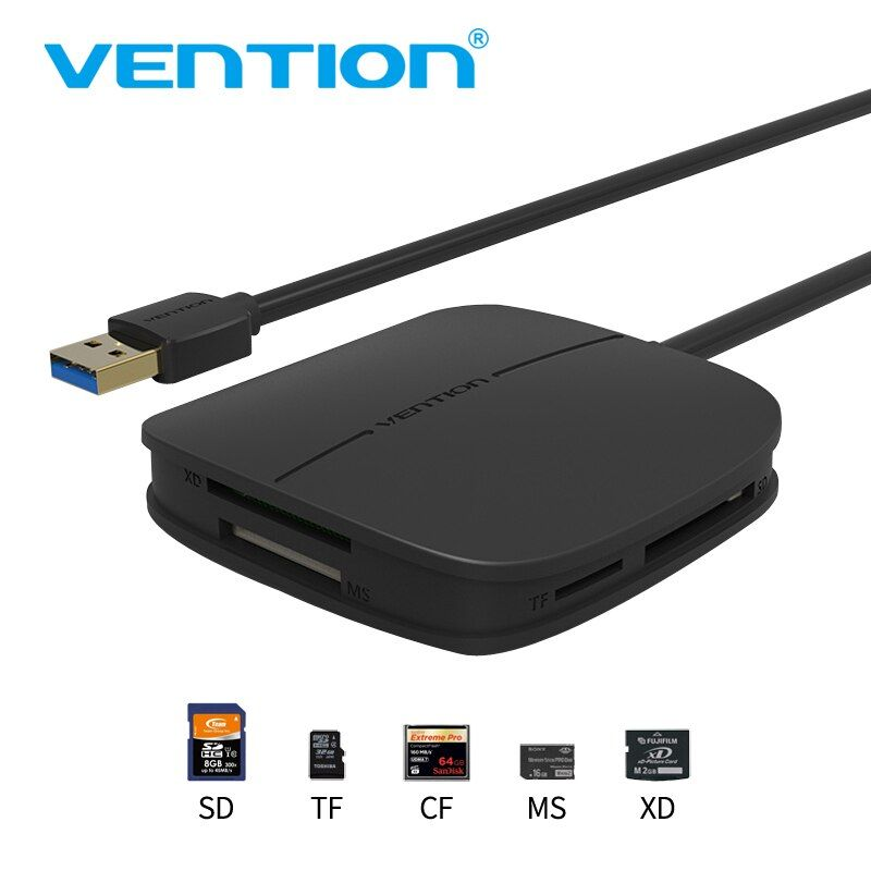 Vention SD Card Reader All in one USB 3.0 50cm Micro SD TF Multi Memory Card Reader Support <font><b>256GB</b></font> For Macbook Laptop Computer