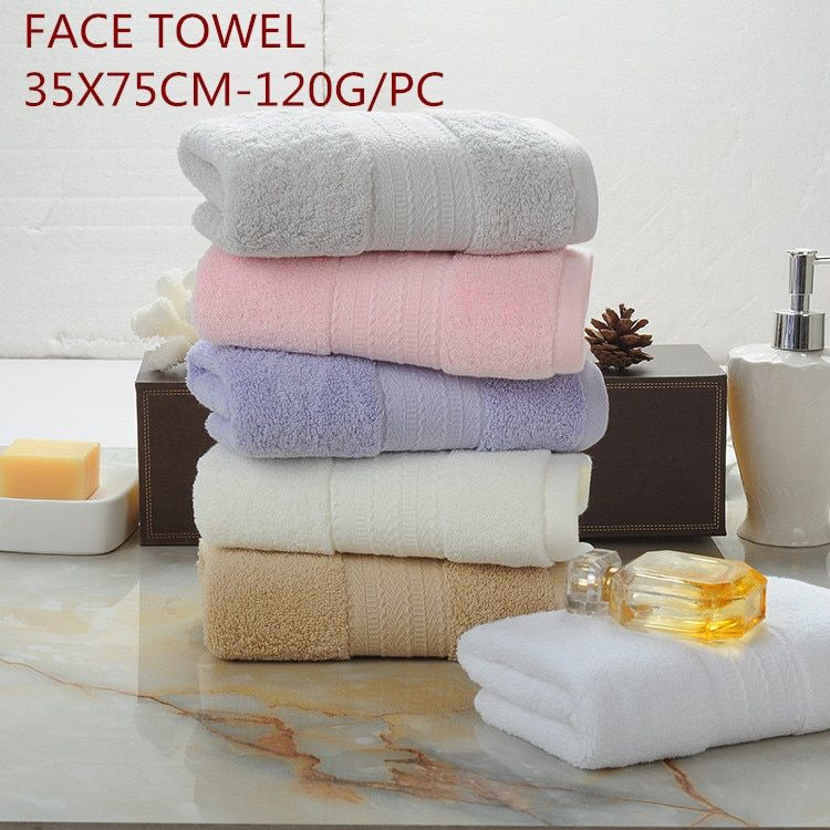 High quality Egypt cotton solid color High water absorption soft comfortable 34x75cm 100% cotton terry face towel