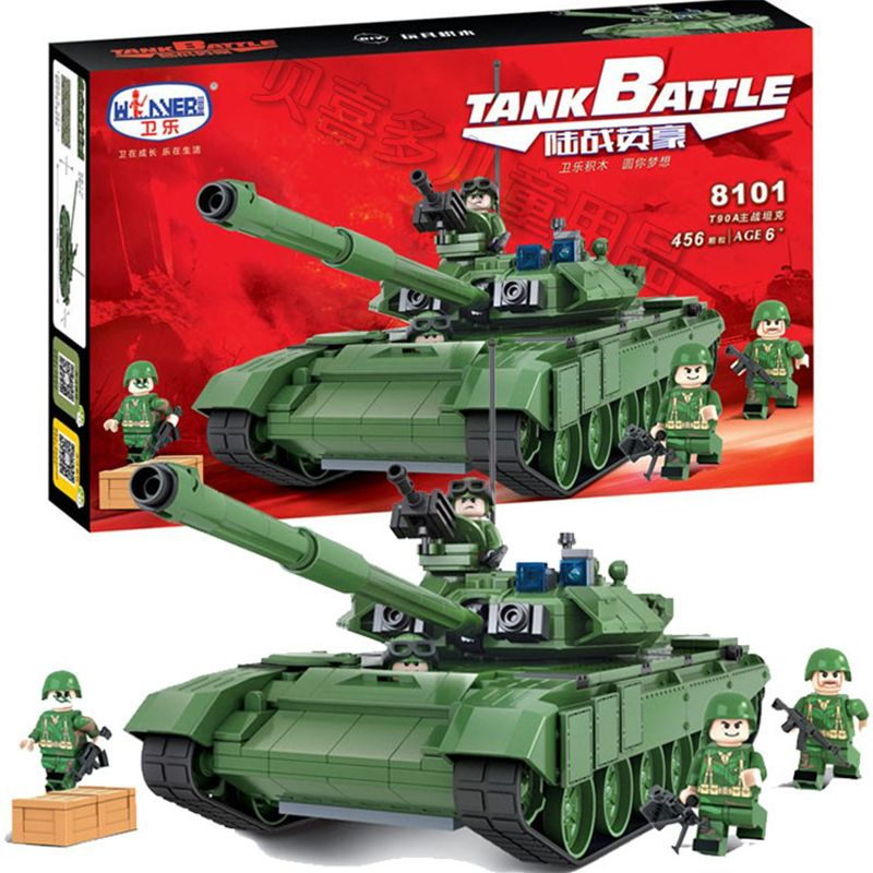 456Pcs Winner Military Battle Tank Model Toys Russia T90A Marine Hero Building Blocks Assembled Compatible With Legoed