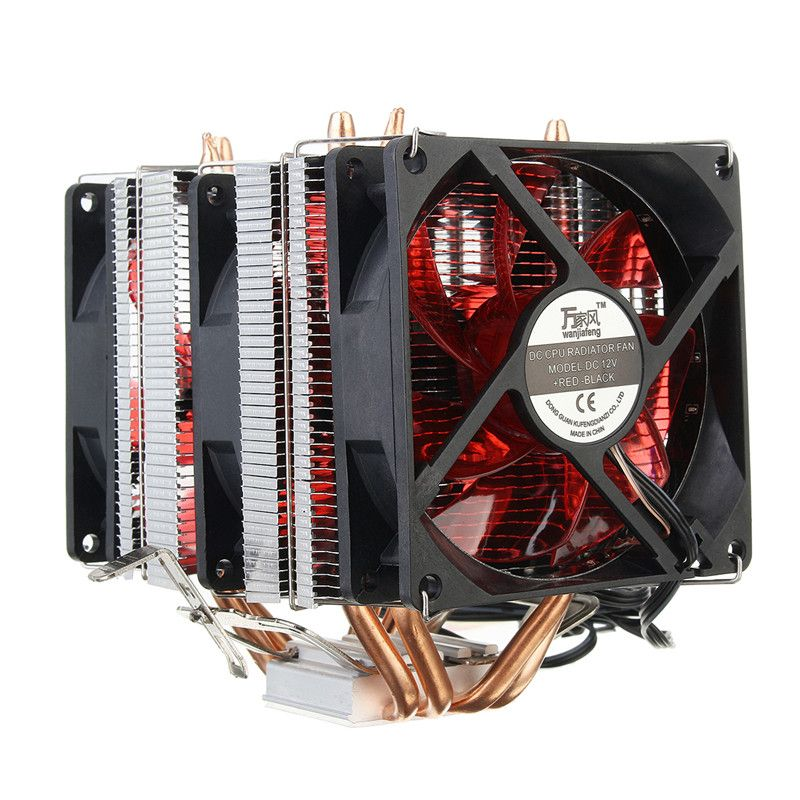 4 Copper Pipe Cooling Fan Red LED Three CPU Cooler Fan Aluminum Heatsink for Intel LGA775 / 1156/1155 AMD AM2 / AM2 + / AM3 ED