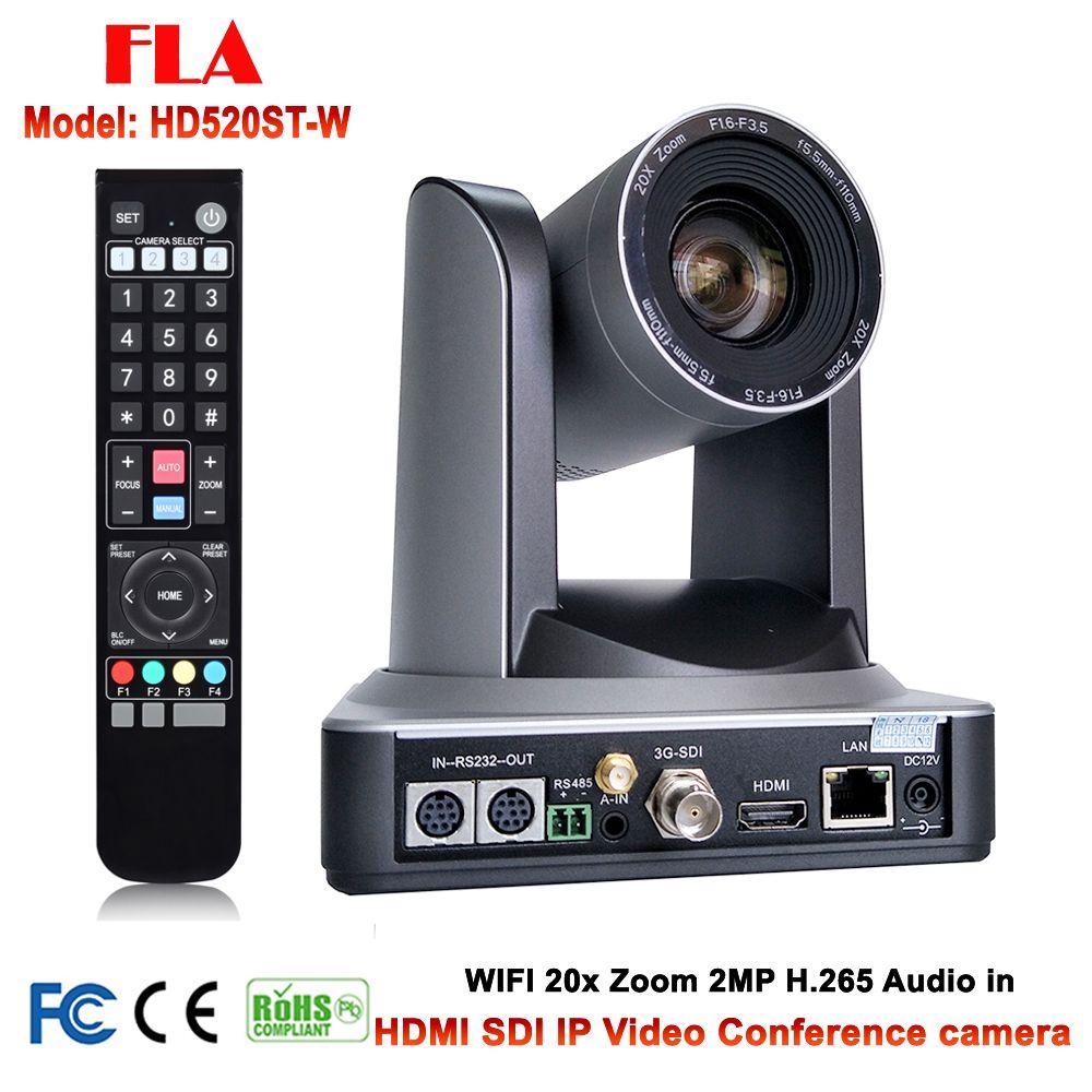 20X Optischer Zoom PTZ IP WIFI Streaming Video Audio Kamera RTMP RTSP Onvif mit Gleichzeitige HDMI und 3G-SDI Ausgänge Silber farbe