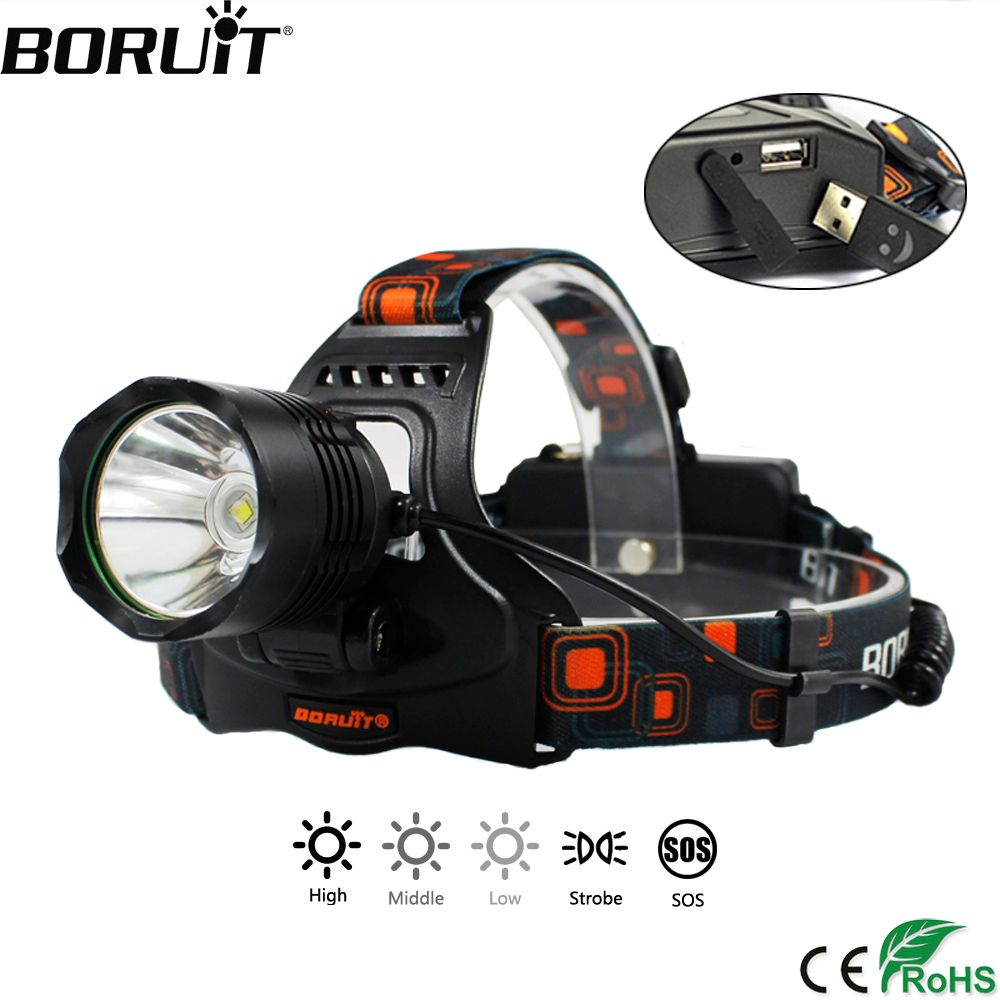 BORUiT 2000LM XML-L2 LED Headlamp 5-Mode Headlight POWER BANK Head Torch Camping Hunting Frontal Lantern by 18650 Battery