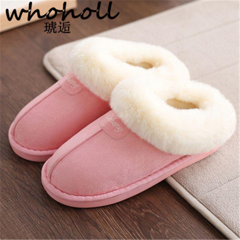 Whoholl Femmes pantoufles maison pantoufles en peluche de fourrure de laine confortable chaud intérieur/étage pantoufles salle de bains Australie UG style chaussures