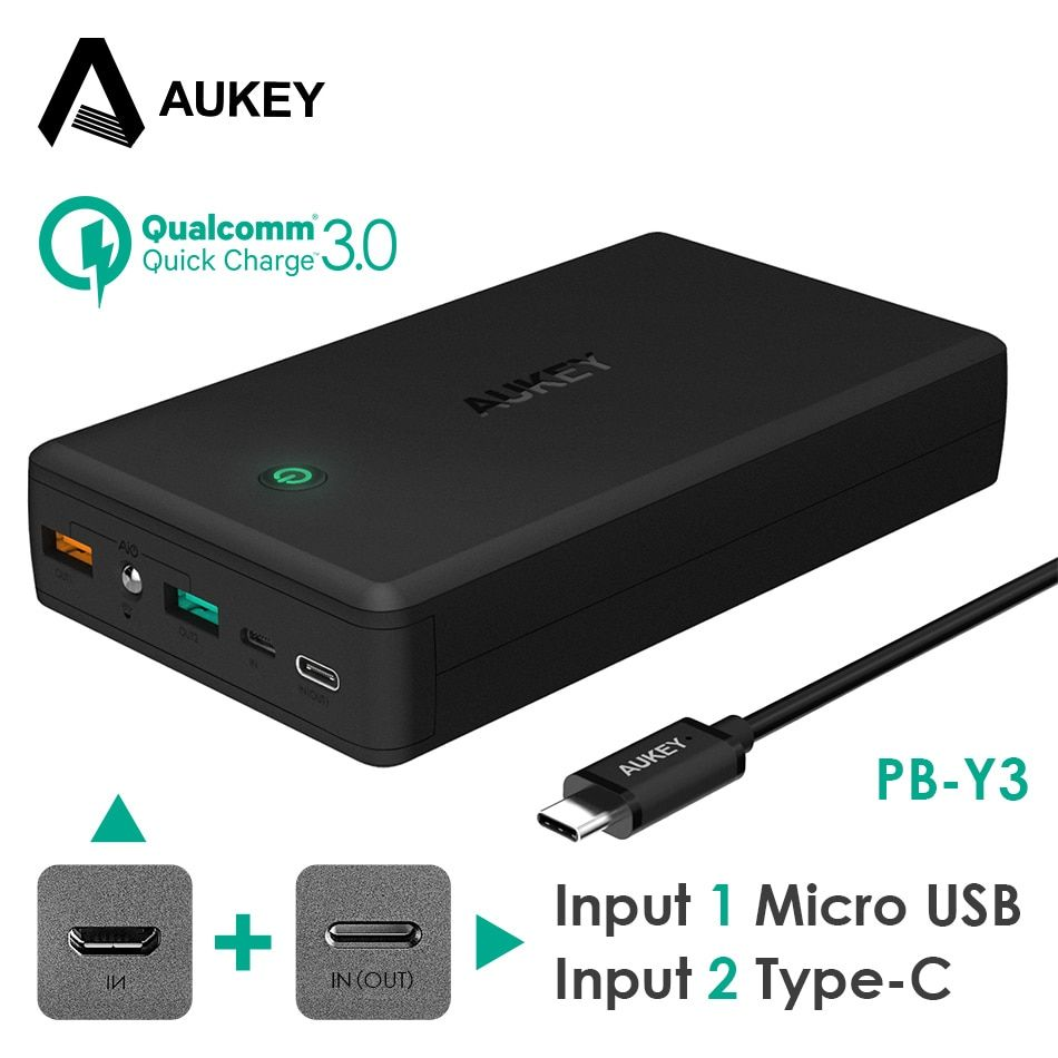 AUKEY 30000mAh Power bank for Xiaomi iPhone, Quick Charge 3.0 PowerBank With Type C Input 3 Ports Outputs External Battery Pack