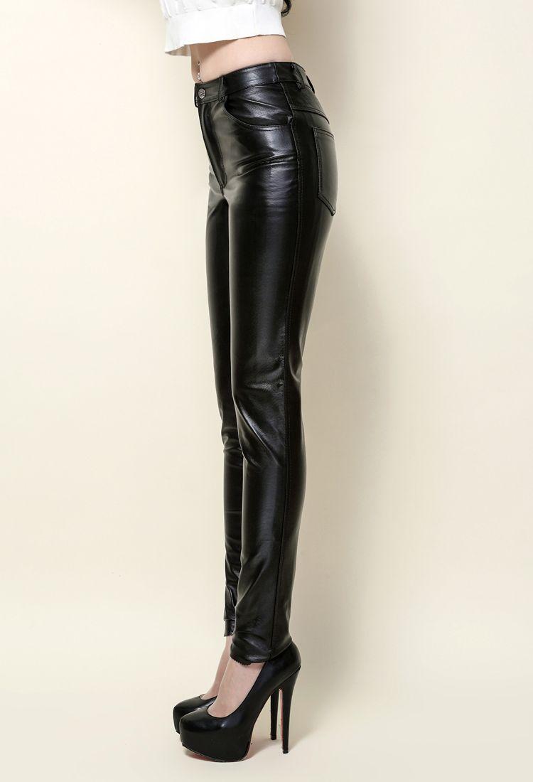 Зимние Для женщин овчины Натуральная кожа Штаны плюс бархатные узкие брюки Леггинсы Slim boot cut Для женщин брюки S-XL