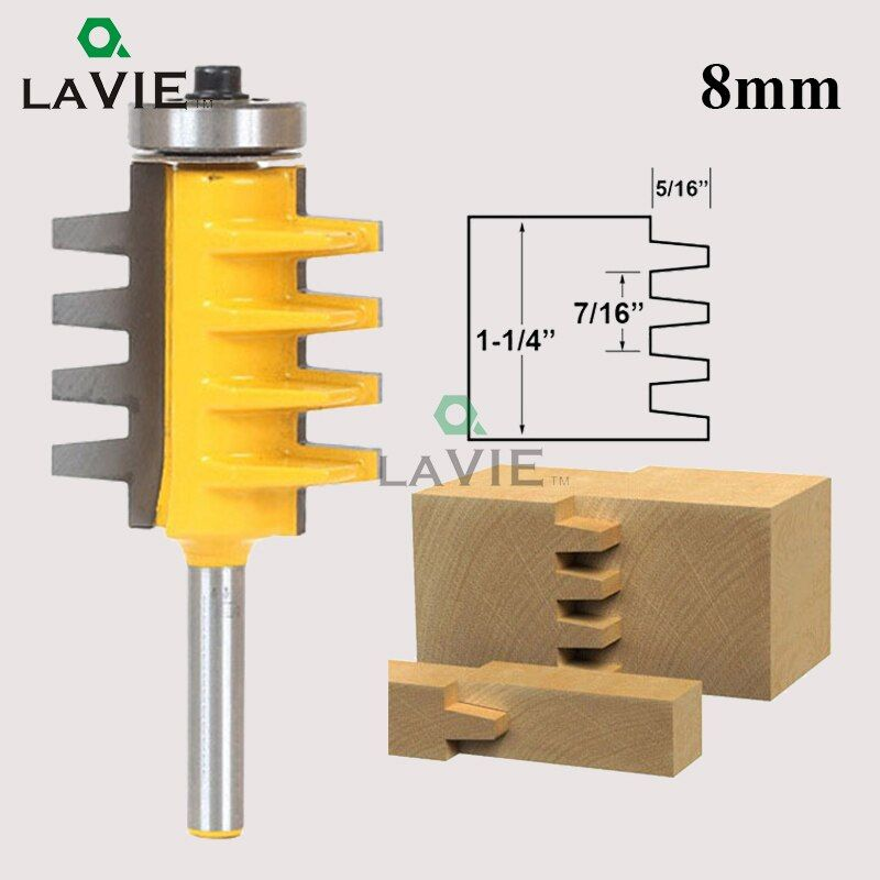 LA VIE 8mm Shank Finger Joint Glue Router Bit Milling Cutter Tenon knife Cone Tenon Wood Milling Machine Power Tools MC02003
