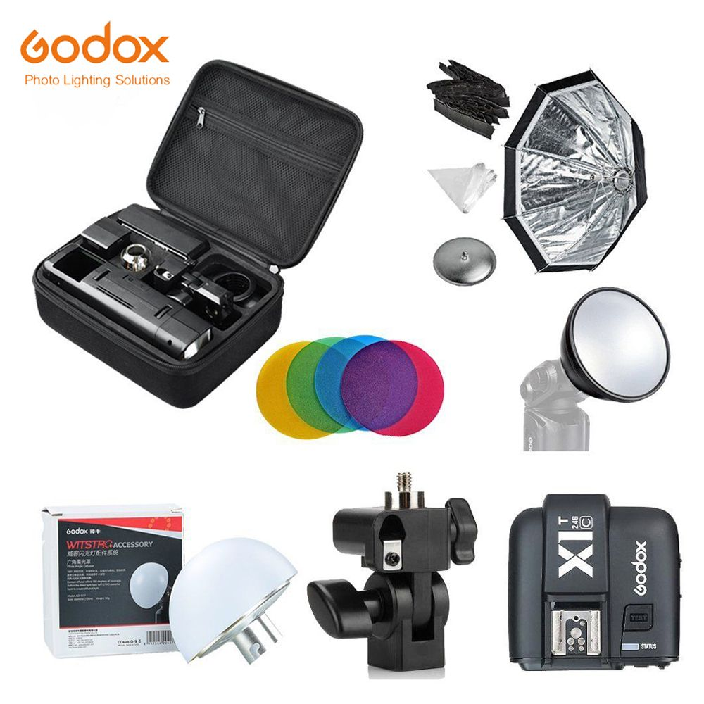 Godox 2.4 TTL HSS Two Heads AD200 Flash+X1T-C/X1T-N/X1T-S For Canon+Softbox Reflector Kit