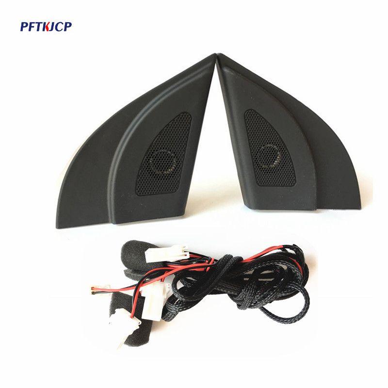 High Quality For Hyundai Solaris Car tweeter Audio Auto Black triangle head speakers tweeter trumpet speakers tweeter with wire