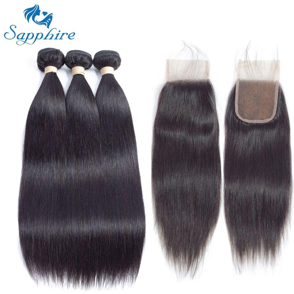 Sapphire Straight Remy Human Hair Bundle With Closure 1B# Color For Hair Salon High Ratio Longest Hair PCT 15% 4*4 Lace Closure