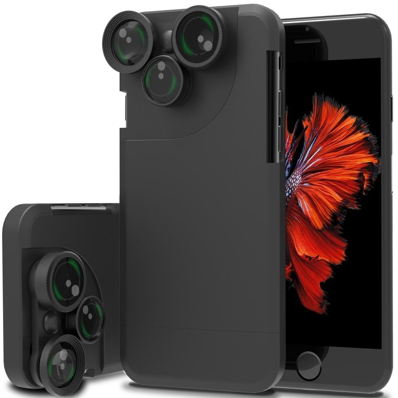 For iPhone 7 7 Plus For Apple 4 In 1 Wide Angle Fish Eye Macro Telephoto 360 Degree Rotation Camera Lens Kit Case Cover