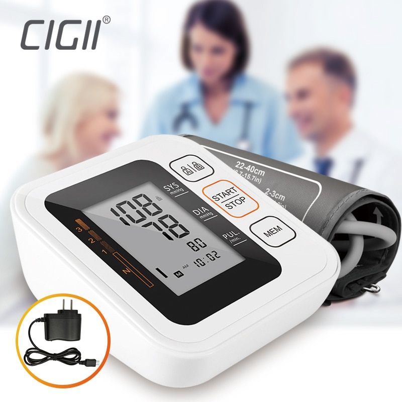 Cigii Portable Digital <font><b>Upper</b></font> Arm Blood Pressure Monitor Heartbeat test Health care monitor 2 Cuff Tonometer