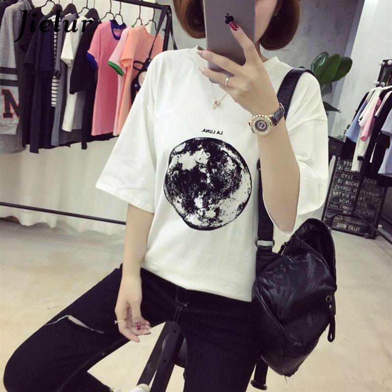 Chic D'été Nouvelle Personnalité Planète Lune Imprimé Lâche T Chemises Femmes Mince Loisirs courtes manches t-shirt blanc Femelle Top M-XXL