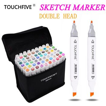 TouchFive Marker 30/40/60/80 Color Alcoholic Oily based Ink Art Marker Set Best For Manga Dual Headed Art Sketch Markers Pen