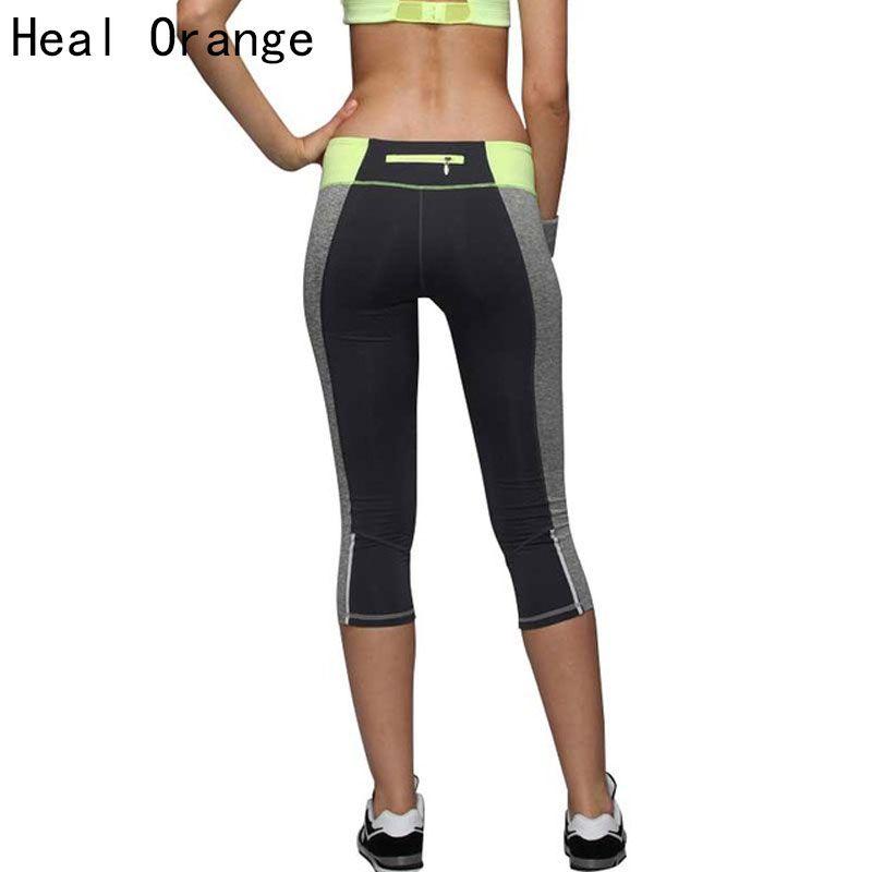 Heal naranja 2017 Fitness Mujer Mallas para correr deportes push-up elástico deportivo Pantalones mujeres deporte Pantalones de correr gimnasio cultivos