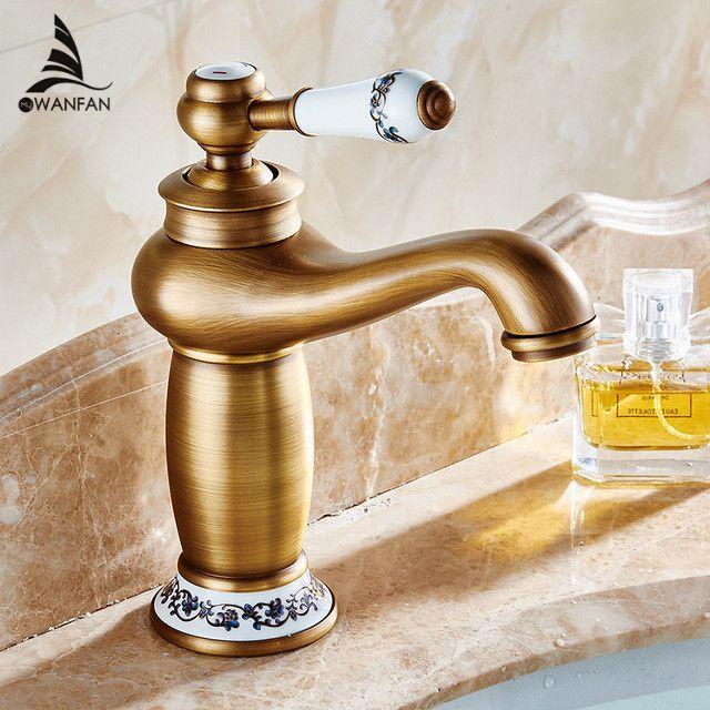 Ванная комната бассейна кран античная бронза латунь отделка раковина кран Одной ручкой сосуд раковина, смеситель воды Бесплатная доставка ...