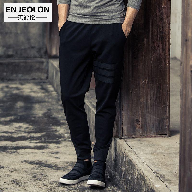 Enjeolon marke lange hosen schwarz jogginghose männer, hochwertige kordelzug kleidung plus größe 3XL mode Kausalen kleidung K6219