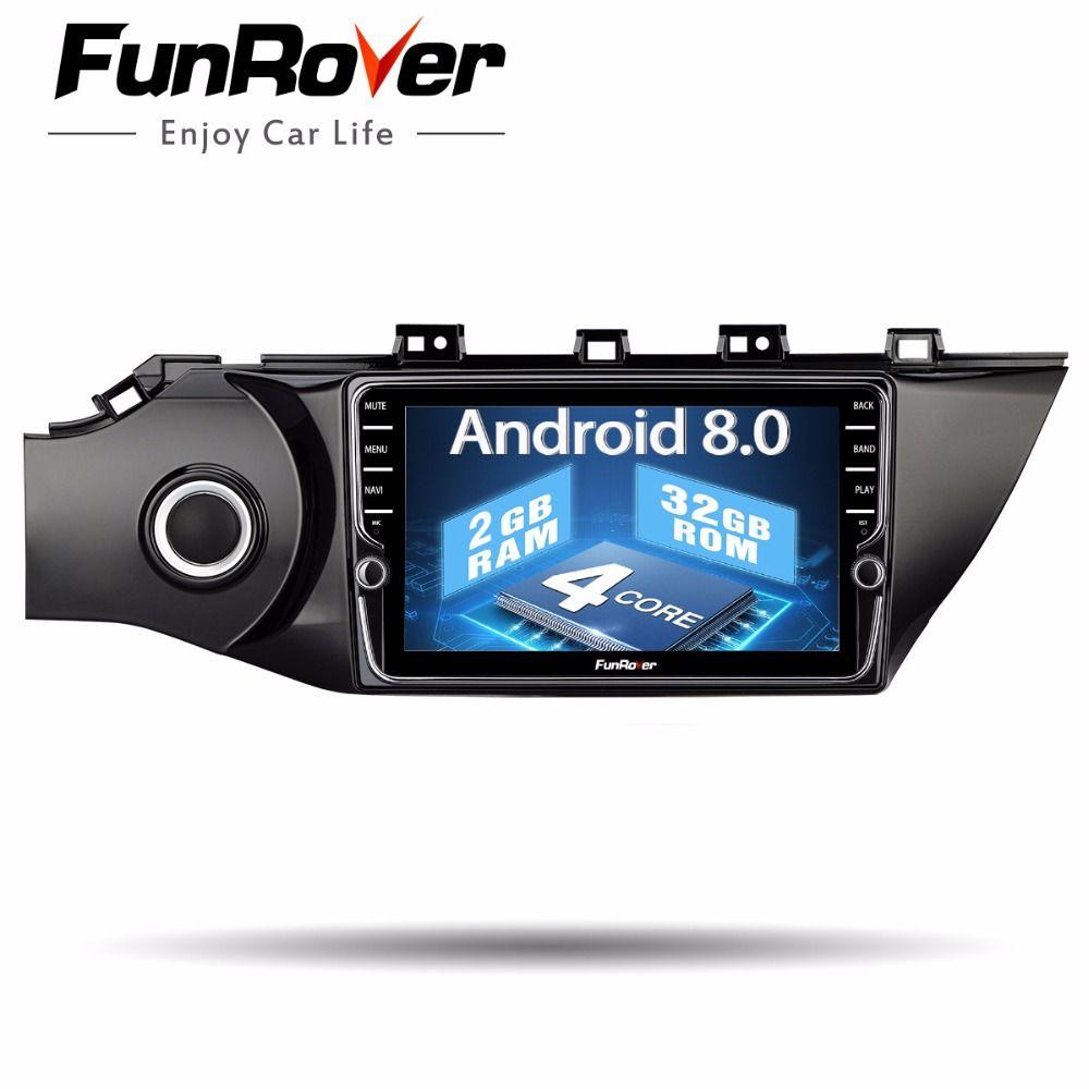 Funrover IPS Android 8.0 2 din car dvd for kia k2 rio 2016 2017 multimedia radio tape recorder audio stereo wifi video player fm