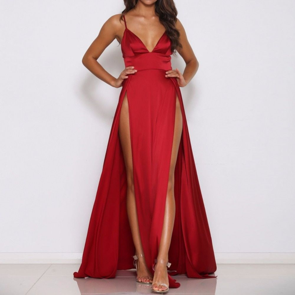 2017 Sexy Deep V Neck Backless Maxi Dress 2 High Splits Dress Red Satin Floor Length Open Back Night Club Evening Party Dress