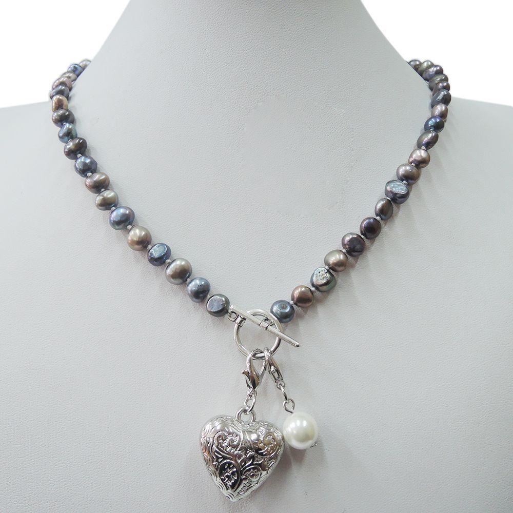 100% collier de perles d'eau douce NATURE-noir, blanc, rose, couleur pourpre-forme baroque demi-ronde 7-8mm